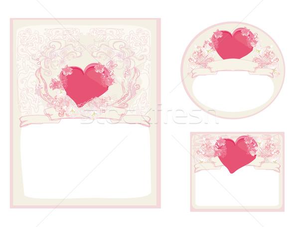 Stylish valentine cards collection  Stock photo © JackyBrown