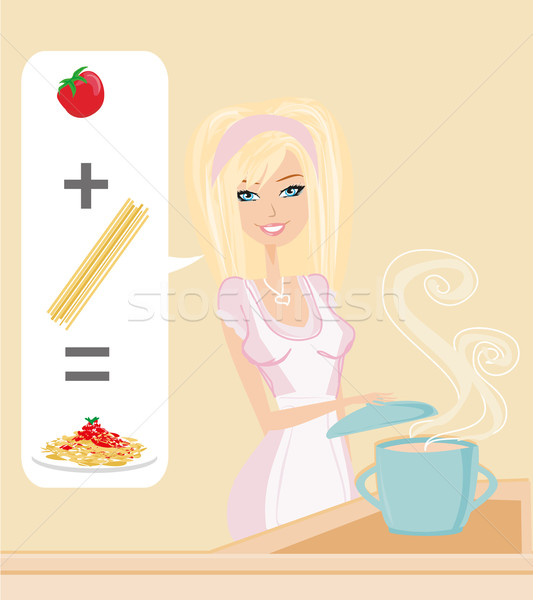 Vrouw koken spaghetti water glimlach pasta Stockfoto © JackyBrown