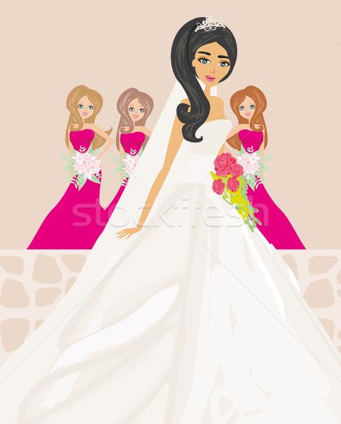 Bride with bridesmaids Stock photo © JackyBrown