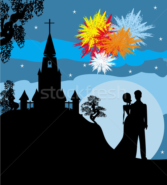 Bridal couple stand sorrounding by fireworks  Stock photo © JackyBrown
