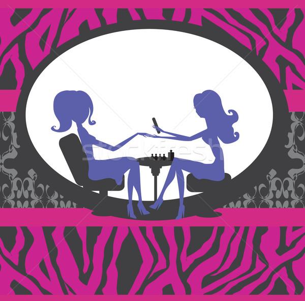 Manikűr szépségszalon kártya munka háttér csoport Stock fotó © JackyBrown