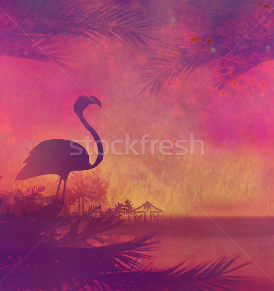 Flamingo tropische vreedzaam zonsondergang hemel abstract Stockfoto © JackyBrown