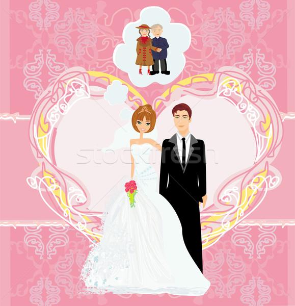 Amour fleurs mariage heureux résumé couple Photo stock © JackyBrown