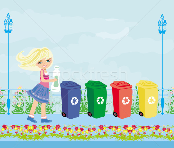 Girl recycling plastic bottles  Stock photo © JackyBrown