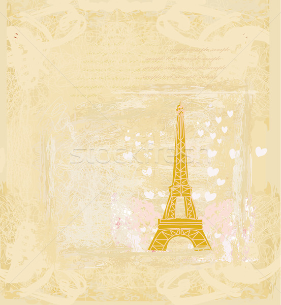 vintage retro Eiffel tower in Paris card Stock photo © JackyBrown