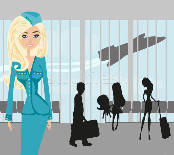 Beautiful stewardess and tourists at the airport Stock photo © JackyBrown