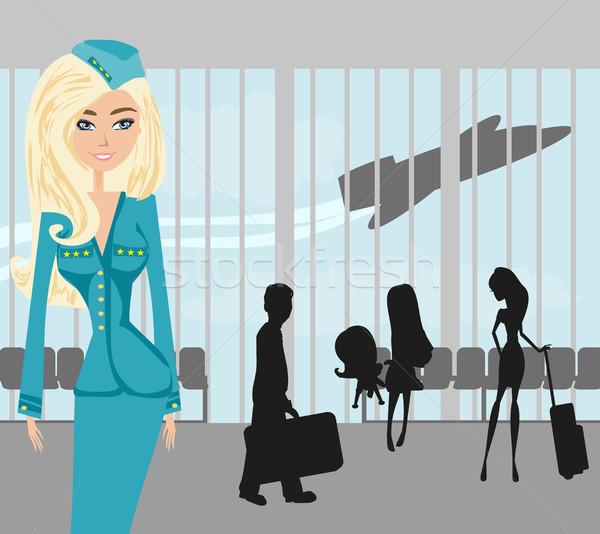 красивой аэропорту семьи работу Сток-фото © JackyBrown