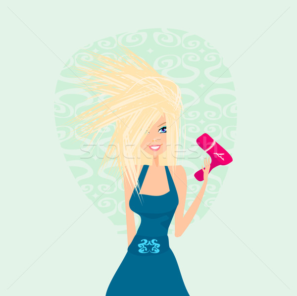 beautiful woman drying her hair by dryer  Stock photo © JackyBrown