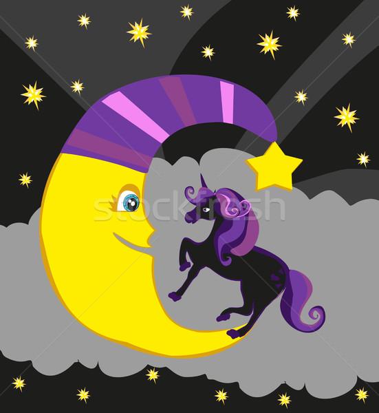 Cute magic unicorn and moon Stock photo © JackyBrown