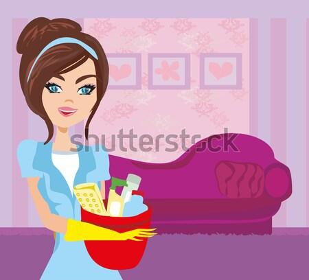 Gyönyörű hölgy főzés leves adag tyúk Stock fotó © JackyBrown