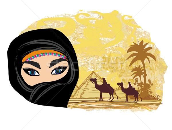 Arabski kobieta pustyni dziewczyna oczy krajobraz Zdjęcia stock © JackyBrown