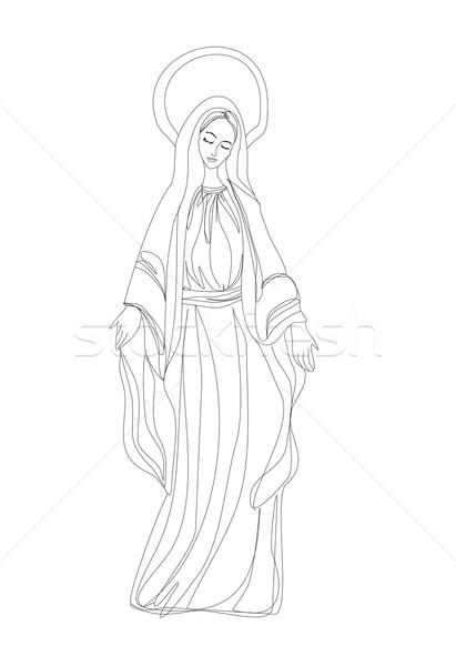 Blessed Virgin Mary in black and white contour drawing  Stock photo © JackyBrown