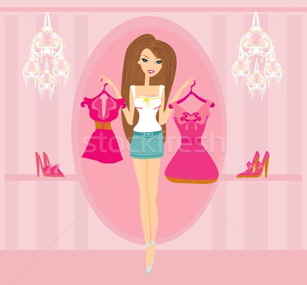 Belle femmes Shopping femme fille ville Photo stock © JackyBrown