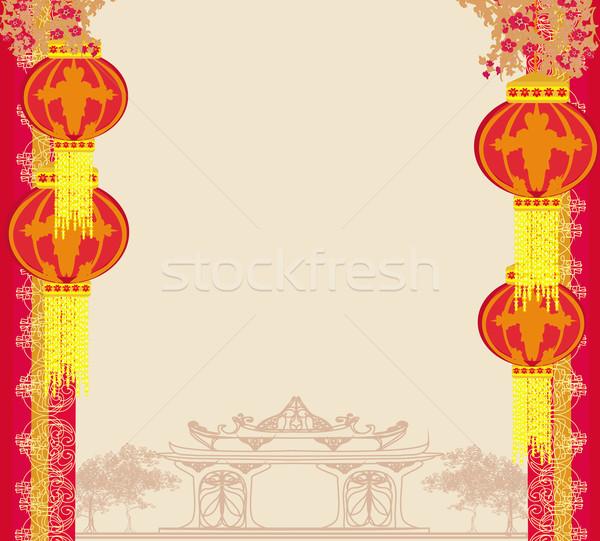 Zdjęcia stock: Festiwalu · chiński · nowy · rok · budynku · szczęśliwy · projektu · ramki