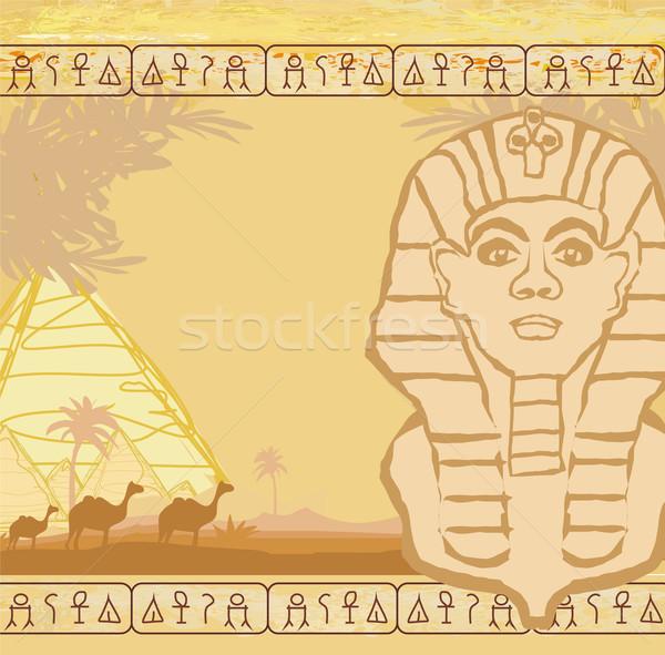 Absztrakt grunge keret Nagy Szfinx Giza természet Stock fotó © JackyBrown