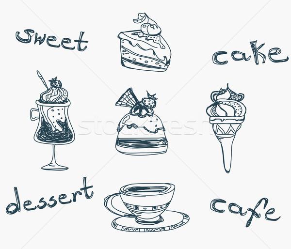 Sweet dessert doodle alimentaire heureux Photo stock © JackyBrown