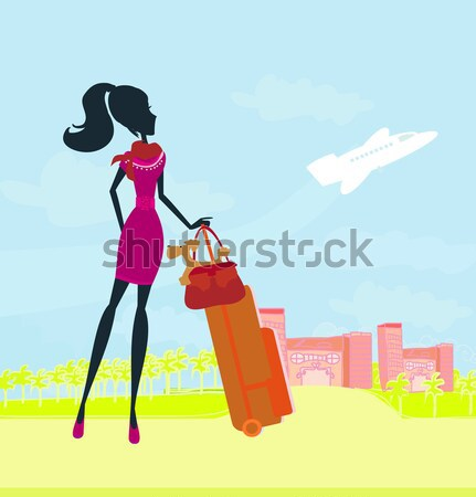 beauty travel girl with baggage at the airport Stock photo © JackyBrown