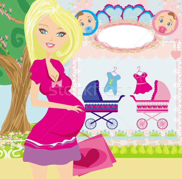 Foto stock: Belo · mulher · grávida · compras · novo · bebê · mulher
