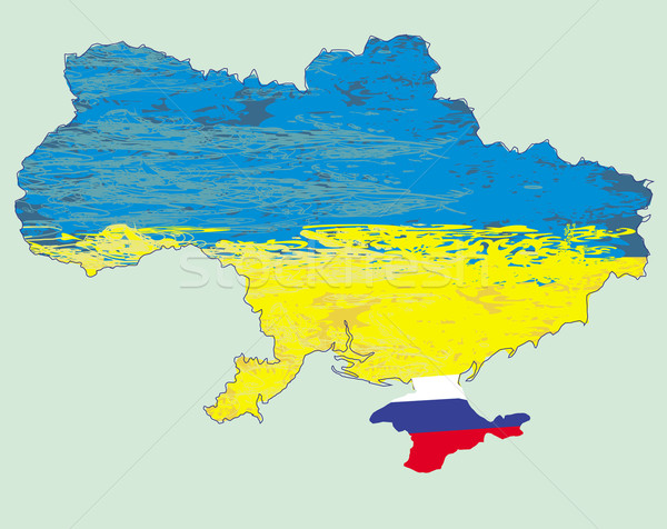 Stock photo: Ukraine vector map , Russia in Crimea
