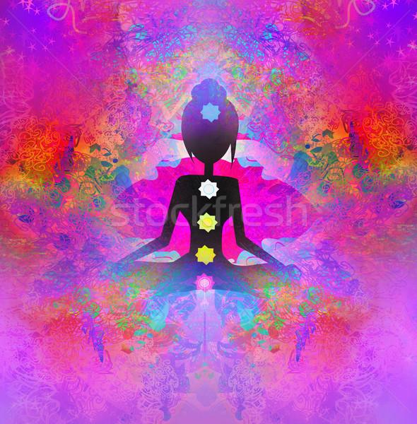 Stockfoto: Yoga · lotus · pose · gekleurd · chakra · punten