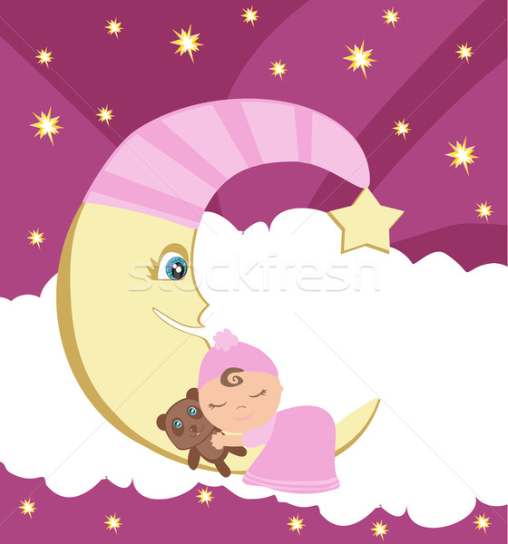 Cute little girl sleeping on moon  Stock photo © JackyBrown
