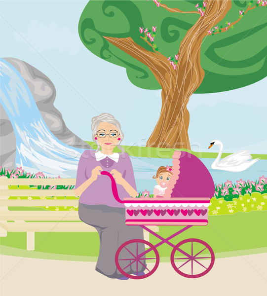 grandmother with her granddaughter for a walk in the park Stock photo © JackyBrown