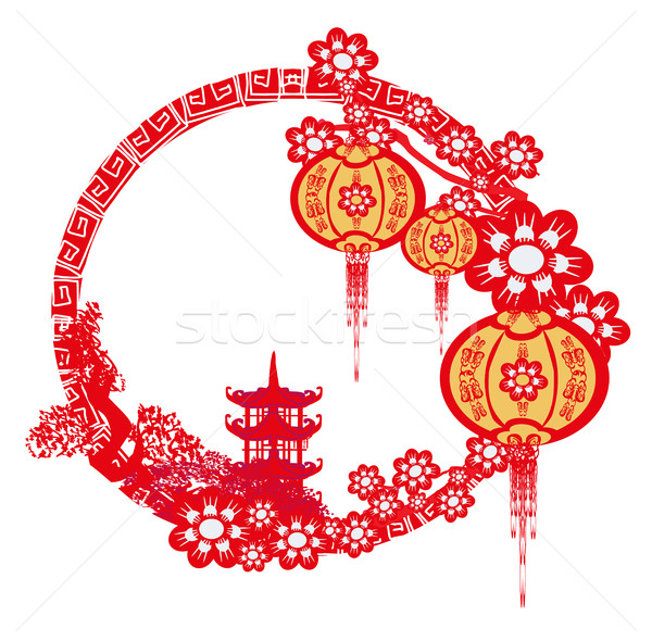 Mid Autumn Festival For Chinese New Year Frame Vector Illustration