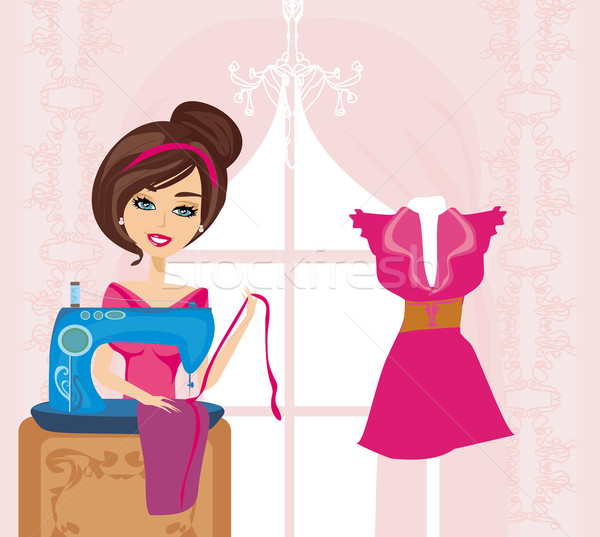 girl with sewing machine  Stock photo © JackyBrown