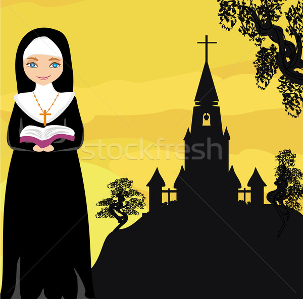 nun praying in front of the church  Stock photo © JackyBrown
