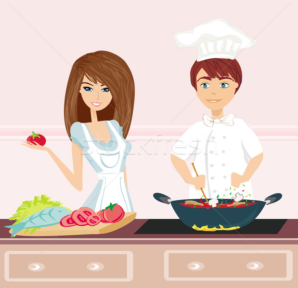 Couple cooking dinner Stock photo © JackyBrown
