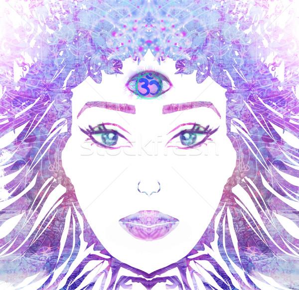 женщину третий глаза сверхъестественный девушки поклонения Сток-фото © JackyBrown