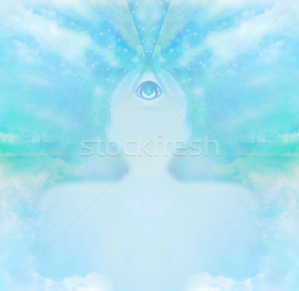 Man derde oog bovennatuurlijk gezicht schoonheid Stockfoto © JackyBrown