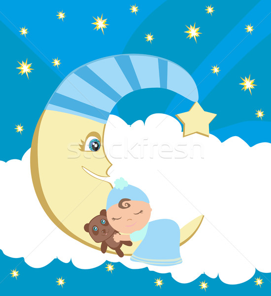 Cute little boy sleeping on moon Stock photo © JackyBrown