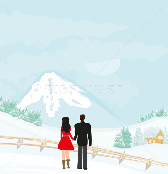 couple walk on a winter day Stock photo © JackyBrown
