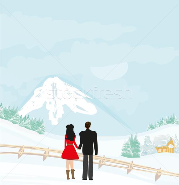 カップル 徒歩 冬 日 少女 愛 ストックフォト © JackyBrown