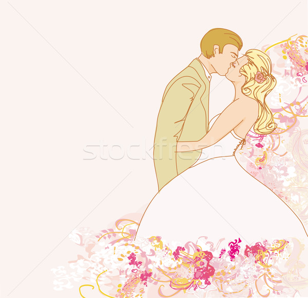 Zarif düğün davetiyesi düğün çift öpüşme çiçekler Stok fotoğraf © JackyBrown
