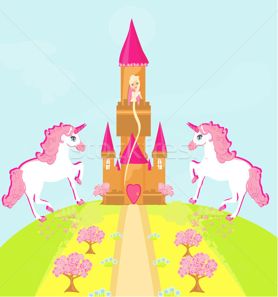 Illustration of princess  in tower waiting for Prince  Stock photo © JackyBrown