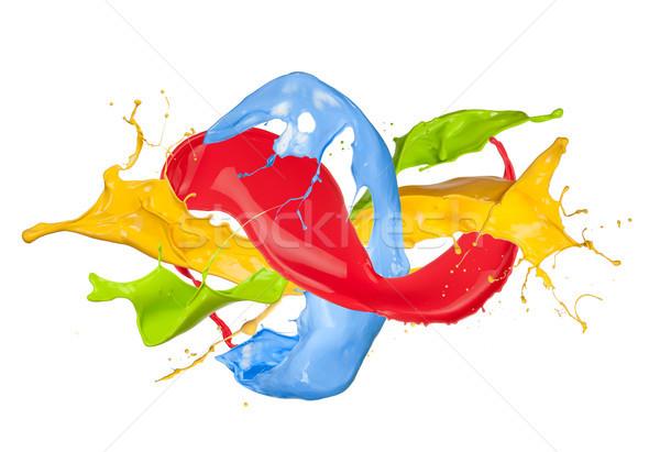 Gekleurd verf splash geïsoleerd witte abstract Stockfoto © Jag_cz