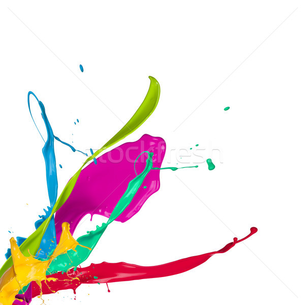 Colored paint splashes isolated on white background  Stock photo © Jag_cz