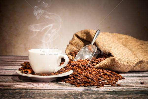 Café still life bois texture alimentaire Photo stock © Jag_cz
