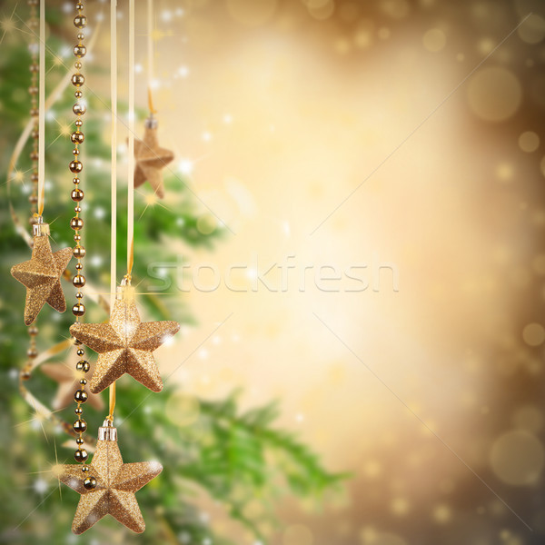Noël or verre étoiles libre espace Photo stock © Jag_cz