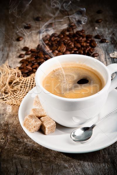 Café still life bois surface bois fond Photo stock © Jag_cz