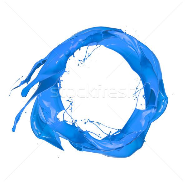Bleu peinture éclaboussures cercle isolé blanche Photo stock © Jag_cz