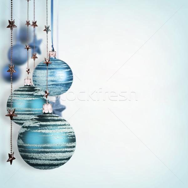 Noël mur résumé lumière design bleu Photo stock © Jag_cz