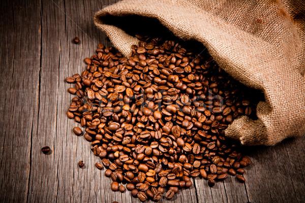 Café grains de café toile de jute sac bois boire Photo stock © Jag_cz
