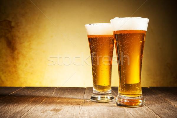 Bière verre table en bois bois espace bar Photo stock © Jag_cz
