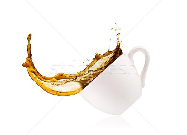 Café sur tasse isolé blanche Photo stock © Jag_cz