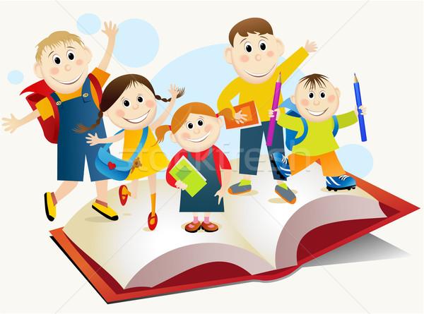 De volta à escola educação jovem estudantes sorrir livro Foto stock © jagoda