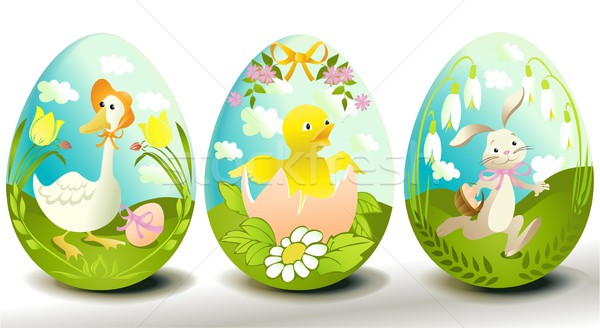 Ovos de páscoa três tradicional decorado projeto ovo Foto stock © jagoda