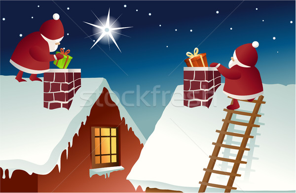 Santa Claus on roof Stock photo © jagoda